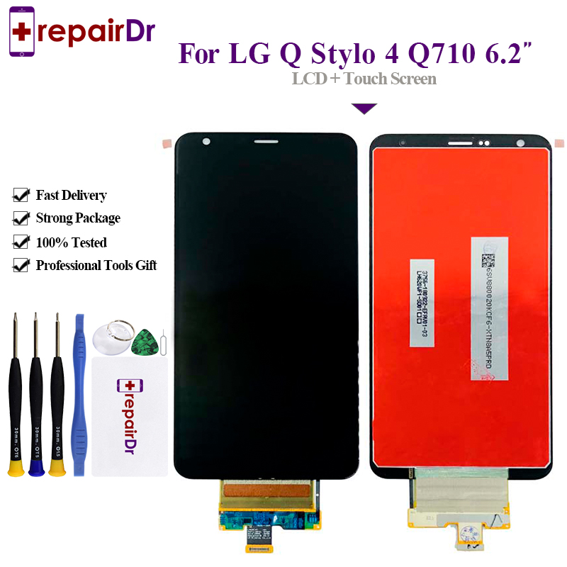 Q710MS LCD Screen and Digitizer Full Assembly with Frame for LG Stylo 4 Q Stylo 4 Q710CS Color : Black Q710