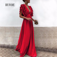 Red Long Maxi Dress Runway 2018 Women Party Dress Ruffles Sleeveless Deep V Neck Backless Celebrity Party Vestidos TB 016