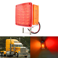 1Pair 39 LED Square Pedestal Strobe Lights Warning Lamp Flashing Mount Fender Double Face Lamps For
