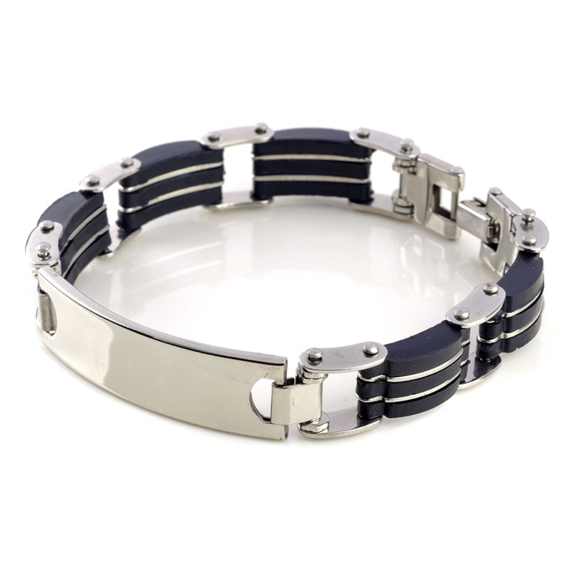 1pc Classic Fashion Black Silica Gel+ Silver Stripes Stainless Steel Cuff Bracelet Bangles for Men Jewelry 3