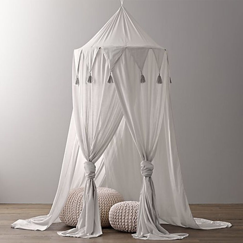 цены на Baby Crib Netting Three Open Tassel Princess Dome Bed Canopy Chiffon Triangulum Lace Tent Mosquito Net Curtain For Baby Sleeping в интернет-магазинах