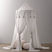 Baby Crib Netting Three Open Tassel Princess Dome Bed Canopy Chiffon Triangulum Lace Tent Mosquito Net Curtain For Baby Sleeping
