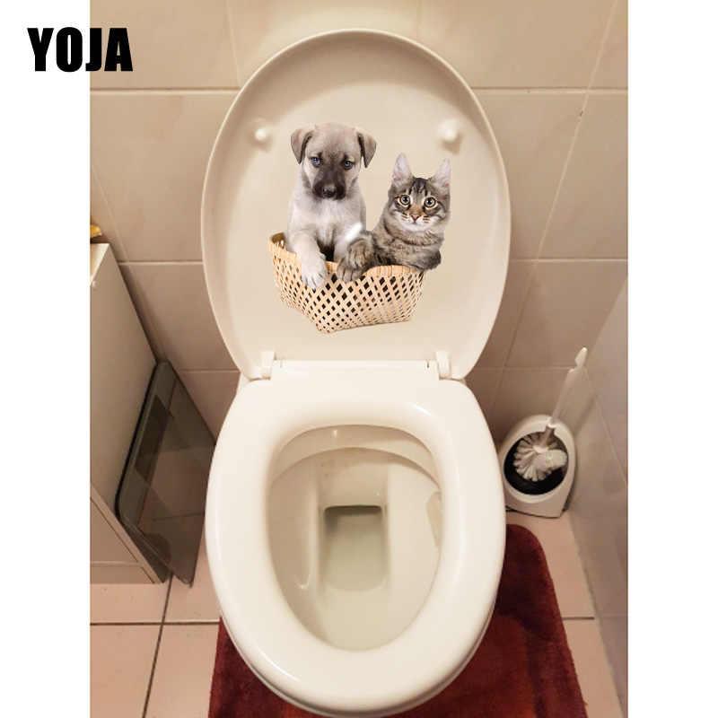 YOJA 19,4*22,1 см Товары для кошек и собак в бамбуковые корзины животных комнаты Настенные наклейки туалет стикеры T1-0270