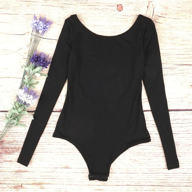 Backless long sleeve autumn bodysuit women 2018 bandage fitness slim black jumpsuits bodysuits sexy hot bodycon overalls clothes 1