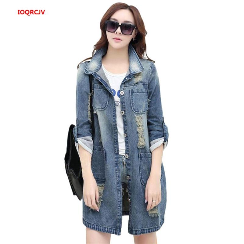 Plus Size 4XL 5XL Women Denim   Jacket   Long Jeans   Jacket   Coat Big 2019 New Size Casual Frayed Female   Basic     Jackets   Outwear W947