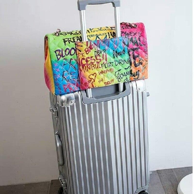 Caker Women Large Big Handbags Graffiti Embroidery Chain Shoulder Bags Letter Diamond Lattice Black Contrast Color travel Bags