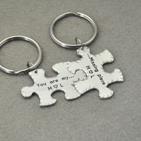 Personalized Couple Puzzle Piece Keychains, Custom Key Rings, Puzzle Boyfriend Keychain, Husband Gift, Valentines Gift