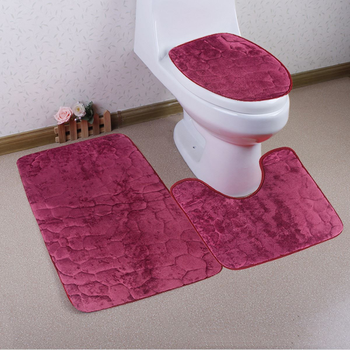 1 Set Washable Bathroom Carpet Toilet Seat Cover Toilet Bath Shower Pad Mat  Rug Cotton Soft Bath Mats Home Textile High Quality In Mat From Home U0026  Garden On ...