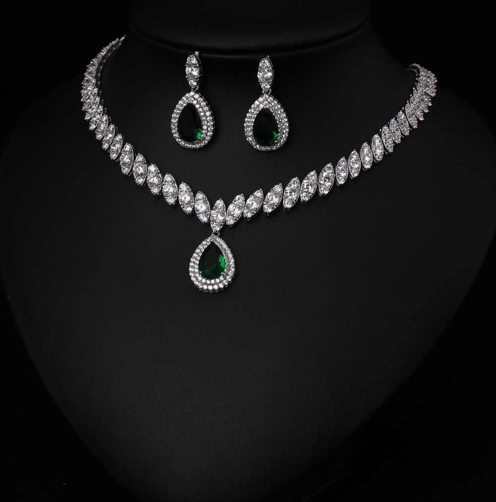 White Free Shipping Fashion AAA Cubic Zircon Jewelry Sets ,Earrings /Necklace,Promotion,Nickel Free, Factory price