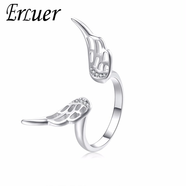 ERLUER charm rings for women Crystal wing open fasion jewellery Girl angel wings zircon adjustable ring Wedding accessories