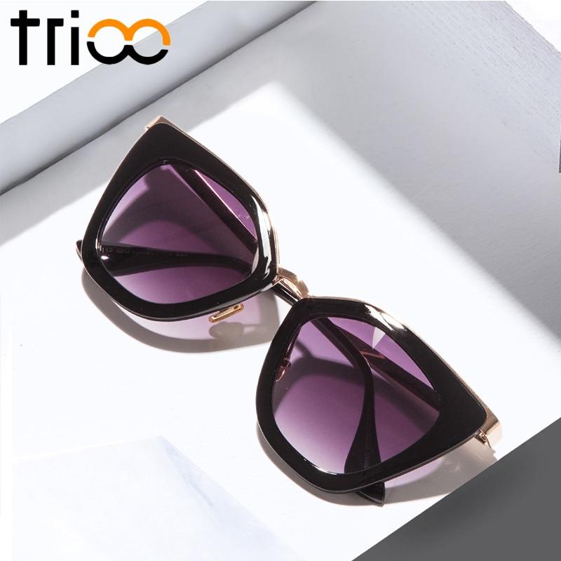 844f65bc9 TRIOO Chic Gato Olho Óculos De Sol Das Mulheres Lente Espelho Cor Gradiente  Moda Verão Oculos
