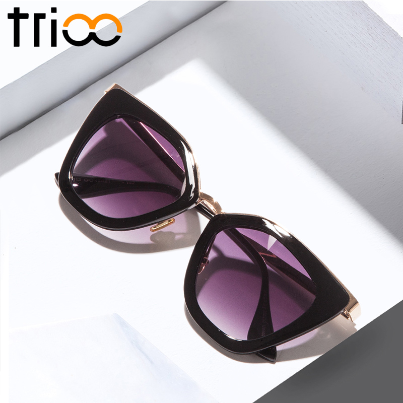 TRIOO Chic Cat Eye Sunglasses Women Gradient Summer Fashion Oculos Lunette Mirror Color Lens Sun Glasses for women Brand Design