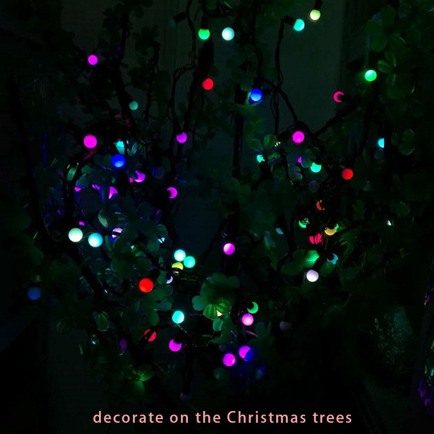 5M 50LED 1 4CM Ball pendant Led String Light Black Wire indoor Christmas tree Fairy String Starry Lights bedroom decoration 220V in LED String from Lights Lighting