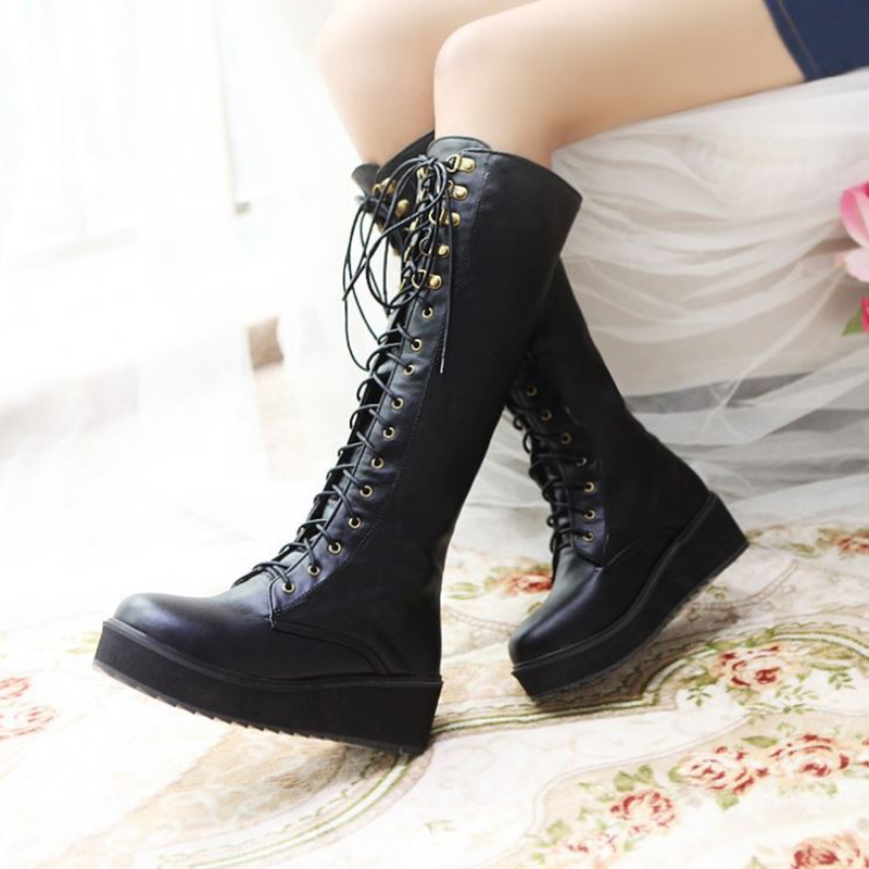 Mid Calf Boots Wedges 5cm Martin Boots Platform Women Shoes Black Flat Lace Up Fashion Ladies Fur Winter Boots Plus Size 43 brand new winter quality women mid calf wedges boots fashion black red beige lady riding shoes eym02 plus big size 10 43