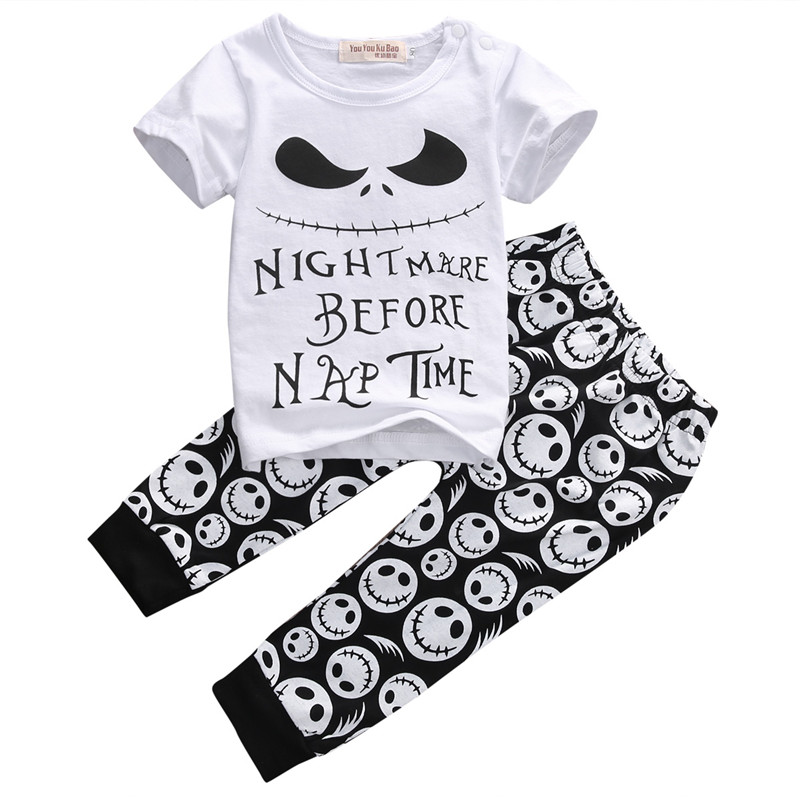 2016 Baby Kids Skull Clothes Set 2pcs Baby Casual T Shirt