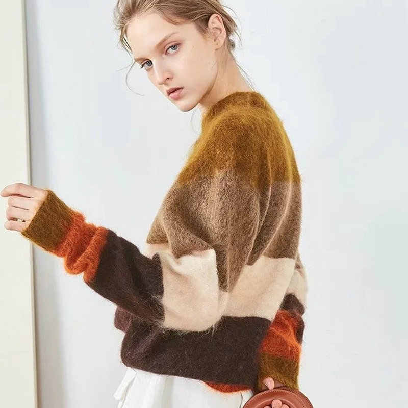 New Women Knitted Mohair Striped Sweater Colored Stitching Fashion Casual Pullovers Autumn Winter Warm Loose Female Sweater