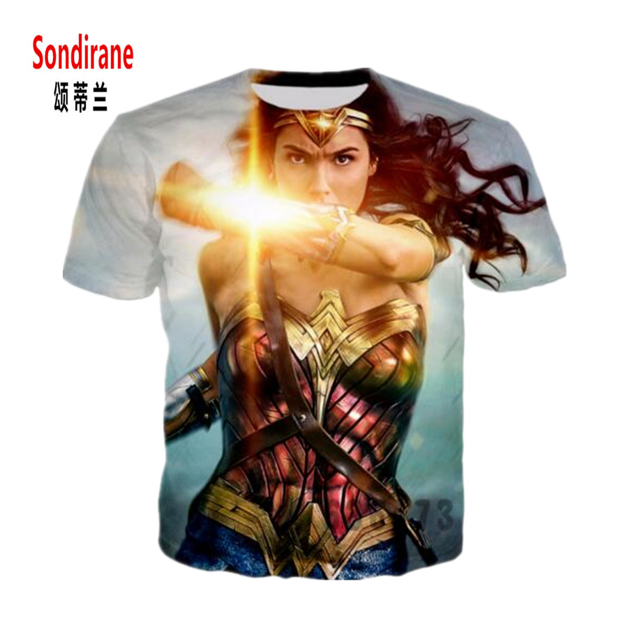 Sondirane Новая мода Ву Для мужчин S/Для мужчин Wonder Woman Фильм Смешной 3D принт Повседневное футболка Дизайн прохладный мужской короткий рукав кост...