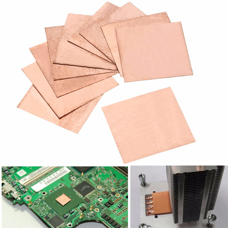 10PCS 0.1mm/0.3mm/0.5mm/0.8mm Laptop Copper Sheet Plate Strip Shim Thermal Pad Heatsink Sheet For GPU CPU VGA Chip RAM Cooling 5pcs lot pure copper broken groove memory mos radiator fin raspberry pi chip notebook radiator 14 14 4 0mm copper heatsink