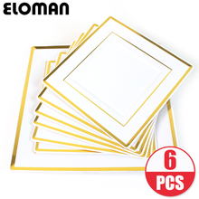 ELOMAN heavyweight square Disposable plastic plates Phnom Penh high quatily plate for wedding birthday party 6PCS/lot