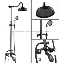 Shower Faucets Oil Rubbed Bronze Shower Set Faucet Tub Mixer Tap Handheld Shower Wall Mounted Nhg634