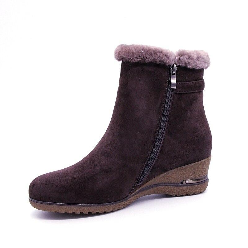 Neue Frauen 2019 Volles Marke Einem Leder Echtes Knöchel Größe Schuhe Winter Stiefel Pelz Wolle Brown Schnee Große Keile FxHw0Hzq8