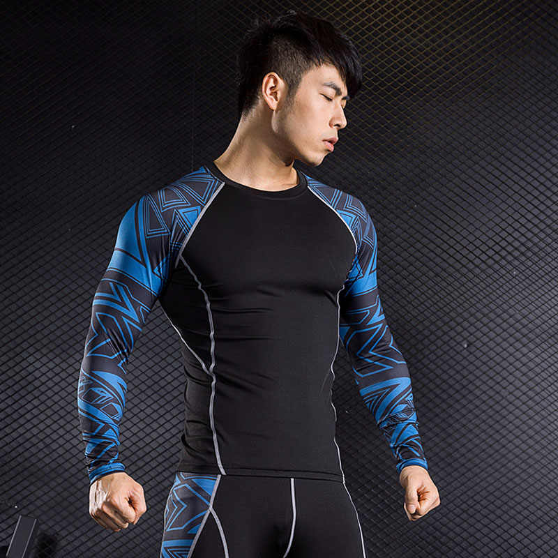 Merk mannen Met Lange Mouwen T-Shirt MMA rashgard kit thermisch ondergoed compressie crossfit Shirts fitness leggings base layer 4XL