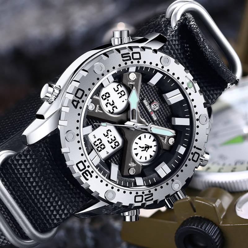 GOLDENHOUR Men's Dual Display Quartz Watches Fashion Luxury Canvas Strap Watch Male Military Sports Chronograph Wristwatch