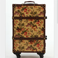 EVISPO 2016 Retro print trolley imported pu leather + wood frame caster locks trolley suitcase 20-inch 24-inch boarding