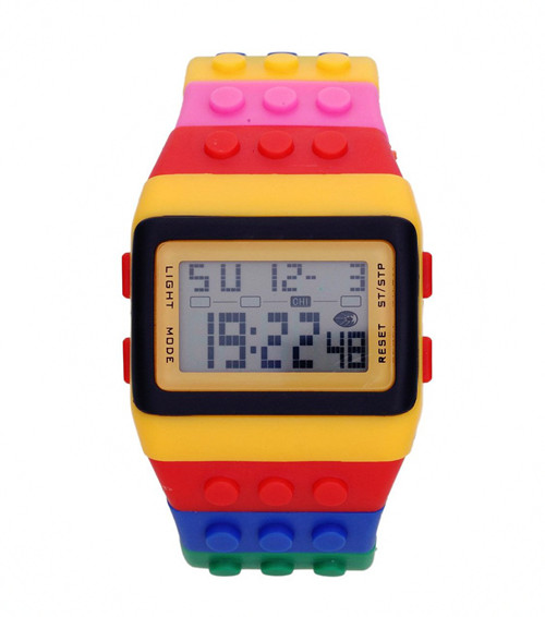YCYS Special Edition Colorful Bricks Wrist Watches Unisex LED Watch Great Gift Multi-Color Blocks LED Watch Night Light