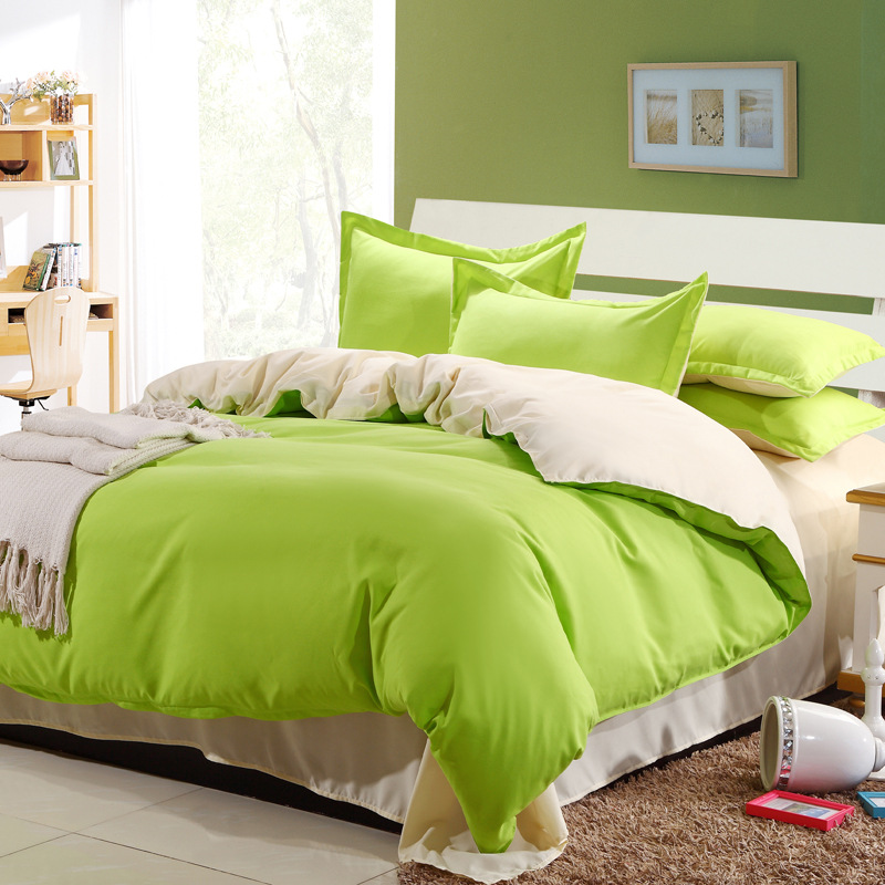 Cheap Bedlinen Colorful Solid Duvet Covers Queen Lime Green Bed Sheets Full  Size Quilt Twin Size Comforters Linen Bedspreads In Bedding Sets From Home  ...