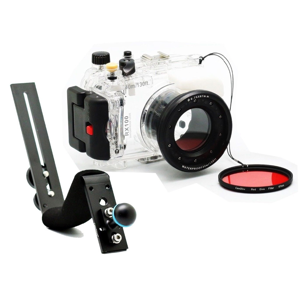 For Sony RX100 DSC-RX100 40m/130ft Waterproof Underwater Housing Diving Case Cover + Diving handle + Filter for sony dsc rx100 iv 40m 130ft meikon underwater camera housing red underwater filter wet 67mm aluminum diving handle