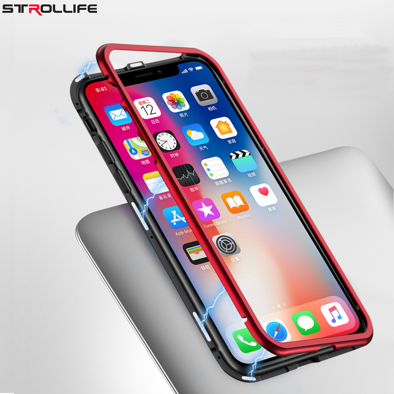STROLLIFE Magnetic Tempered Glass Case for IPhone X Case for IPhone 8 Plus Magnet Case for IPhone 7 Plus Metal Back Glass Cover