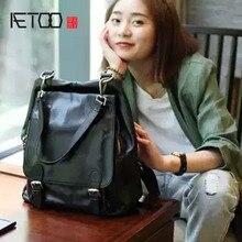 AETOO черная сумка на плечо из натуральной кожи, модная женская большая вместительность, новинка, корейский мягкий мотоциклетный рюкзак из воловьей кожи
