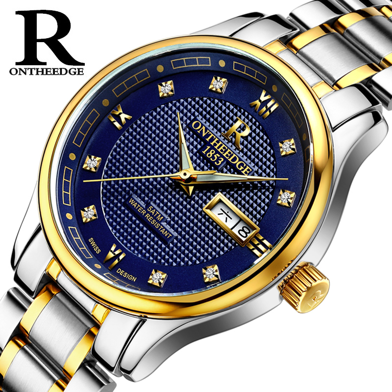 RONTHEEDGE Brand Men 's watches automatic mechanical watch business luminous hollow men' s table waterproof steel belt 2017 цена и фото
