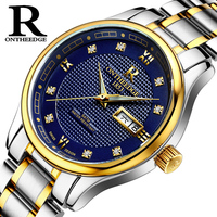 RONTHEEDGE Brand Men 's watches automatic mechanical watch business luminous hollow men' s table waterproof steel belt 2017