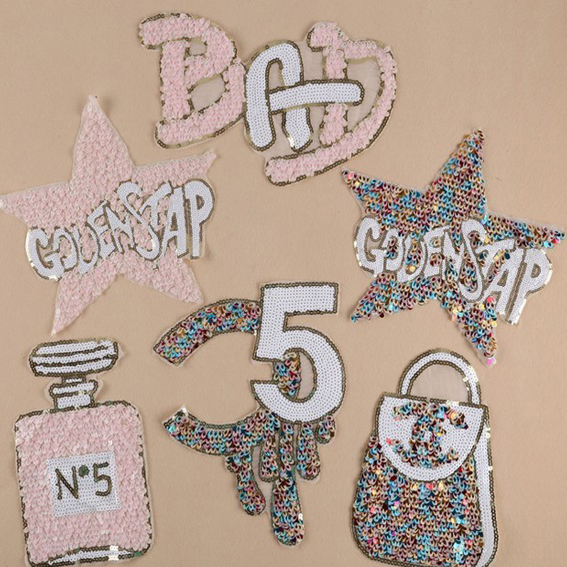Sequins embroidery letter patches 2pcs lot fashion patch for Embroidery prices per letter
