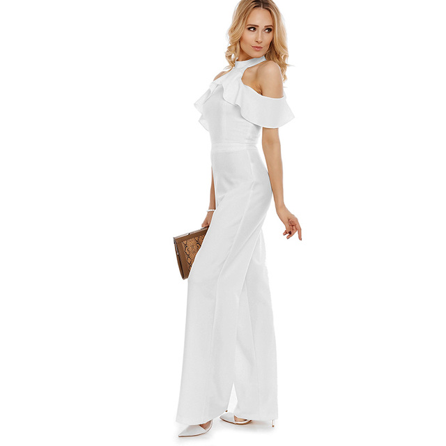 Young17 jumpsuit 2017 new sexy club jumpsuits solid white lady elegant ruffles off shoulder jumpsuit long elegant work jumpsuits
