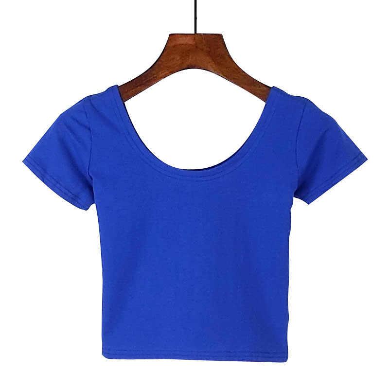 U neck Sexy Crop Top Damen Kurzarm T Shirt T Grund Stretch T-shirts Frauen Harajuku Dünne Frauen Top Für frauen Kleidung