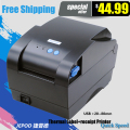 XP-365B label barcode printer thermal receipt or label printer 20mm to 80mm thermal barcode printer automatic stripping