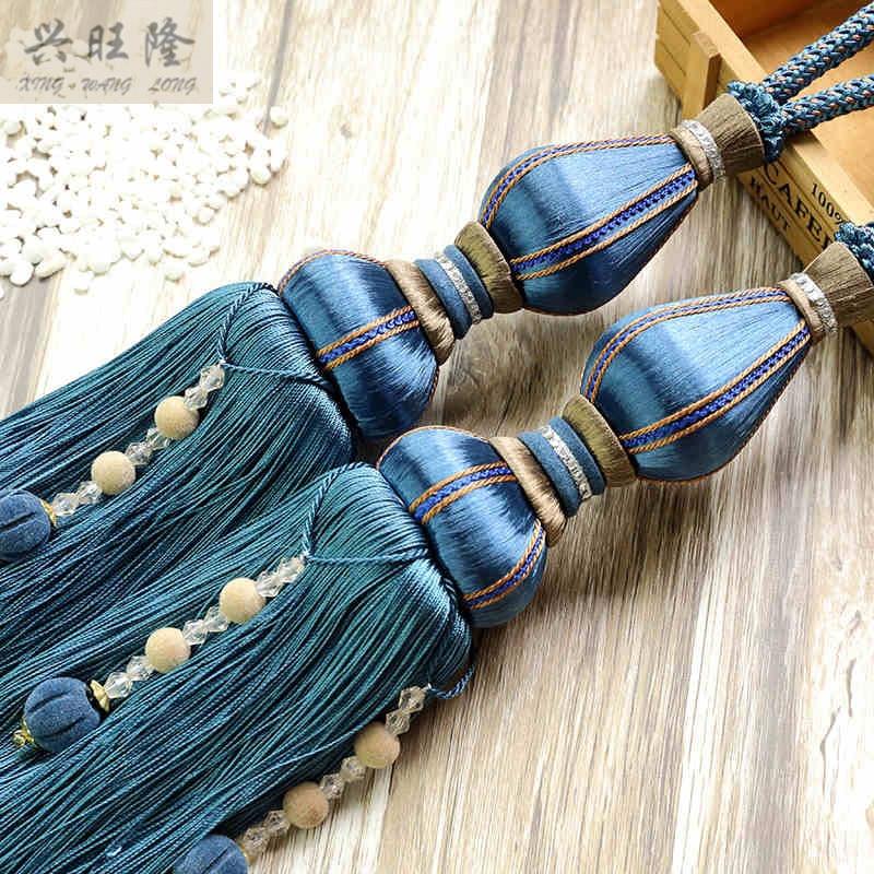 XWL 1 Pair Silk Tassel Beads Decor Curtain Hanging Balls Fringe Tiebacks Lashing Bandage Curtain Accessories Bind Belts Decor