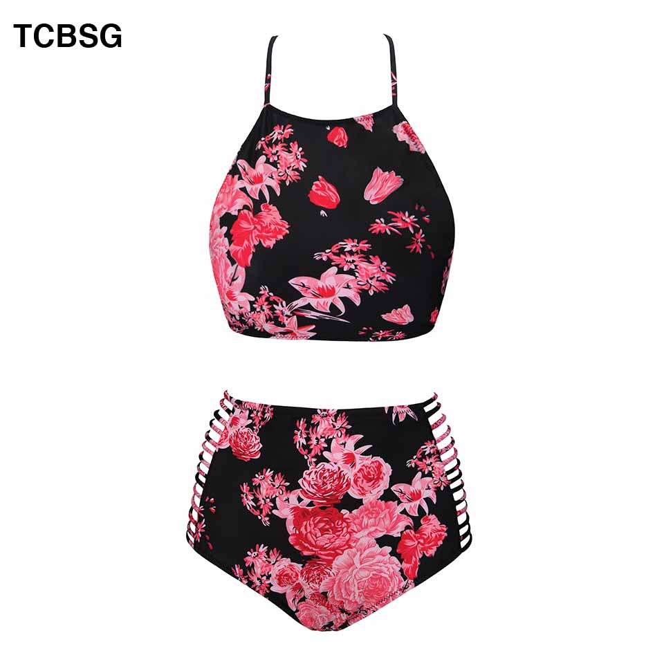 TCBSG 2019 Summer Bandeau Bikini Push Up Swimwear Bikinis Sexy Women Swimsuit Printed Bikini Set Solid Beach Bathing Suits 1