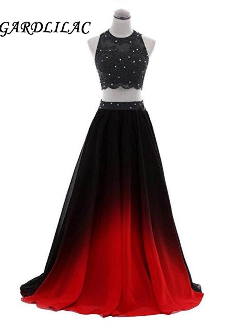 2019 New Ombre Two Piece   Evening     Dresses   Vestido Longo Beaded Gradient Chiffon Prom Long Elegant   Dress   For Plus Size Woman