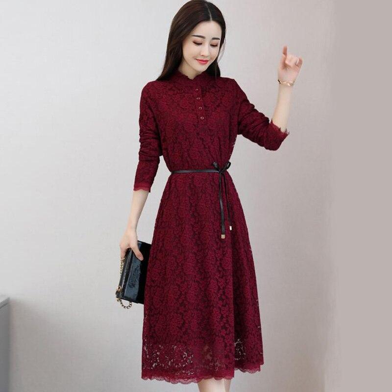 Automne hiver nouvelle grande taille Vintage dentelle Midi robes femmes élégant robe de soirée à manches longues Plus velours a-ligne robe LP060