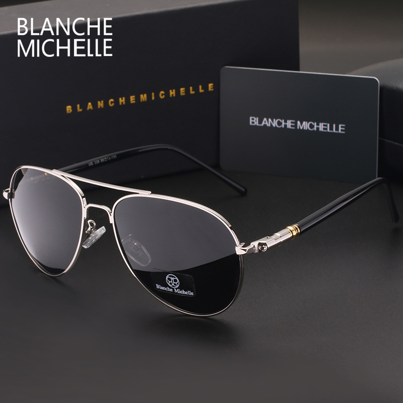 Blanche Michelle 2018 High Quality Polarized Sunglasses Men Brand Designer Sunglass Driving UV400 Vintage Sun Glasses With Box