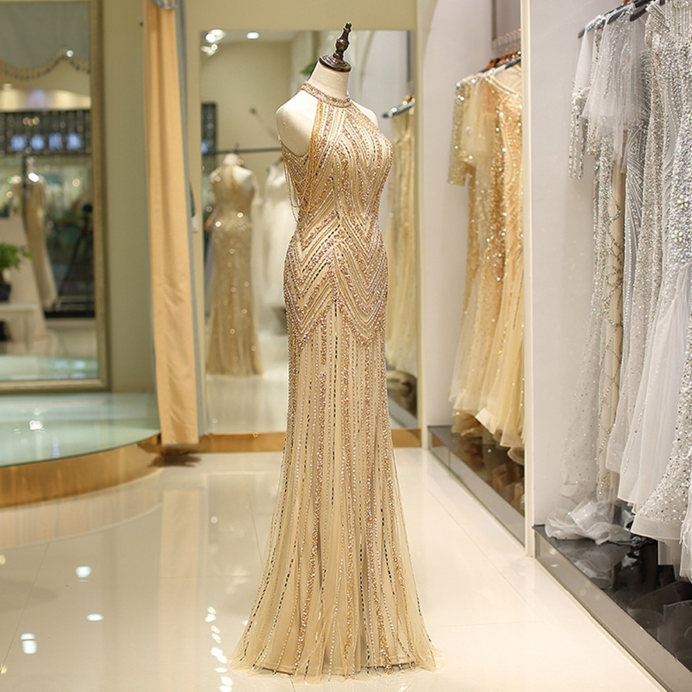 Gold Prom Dresses High Neck Beaded Crystal Hard Handwork Mermaid Long Evening Gown Vestido Formatura Longo Vestido De Gala Mujer in Prom Dresses from Weddings Events