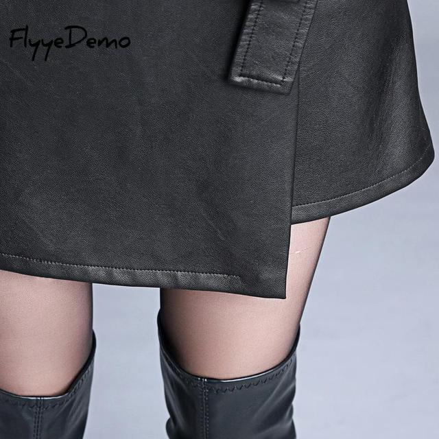 4XL Autumn Winter Women Faux Leather Skirt 2019 Black Pu Leather Belt Female OL Office Short Pantskirt Plus Size 2