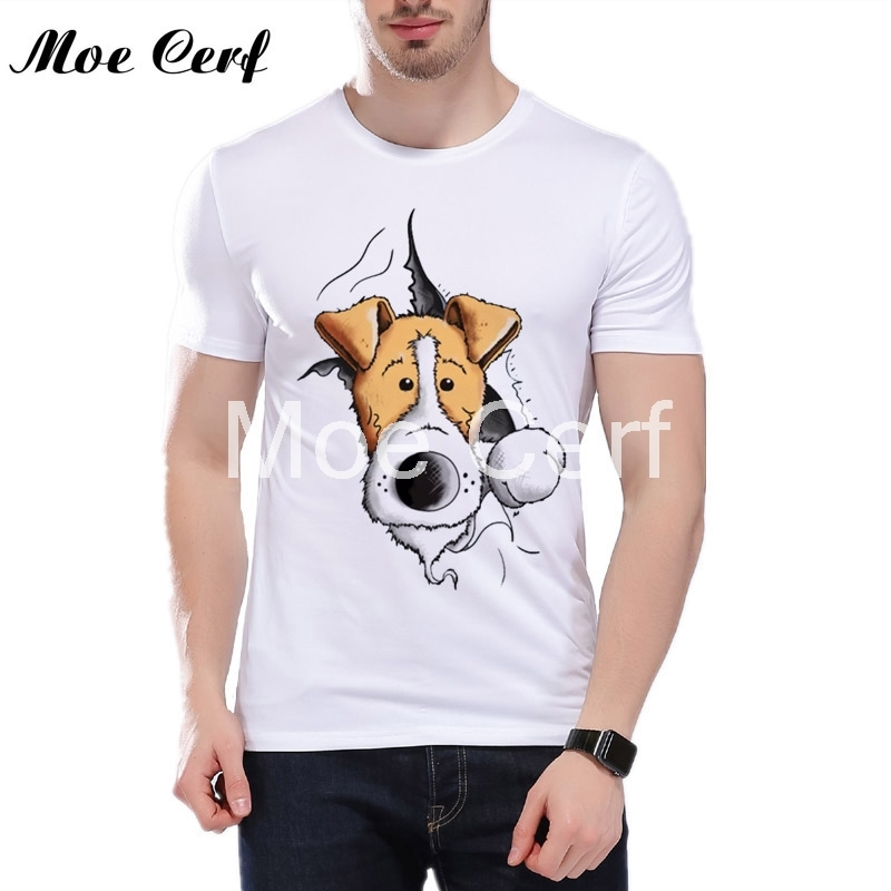 finn the fox terrier t shirts mens casual shirt cartoon dogs printed top quality animal Graphics funny tops L11-182