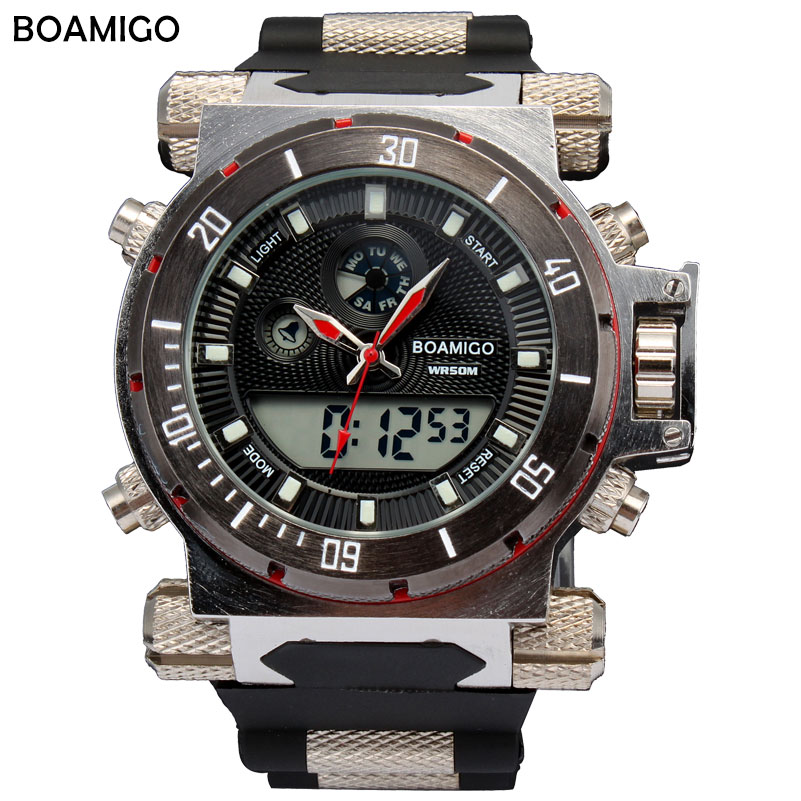BOAMIGO 2016 china brand Men military sports watches Dual Time Quartz Digital Watch rubber band wristwatches