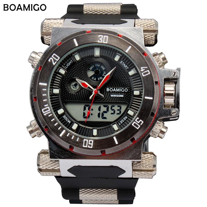Prix pour Boamigo 2016 chine marque hommes militaire montres de sport dual time quartz numérique montre en caoutchouc bande montres relogio masculino