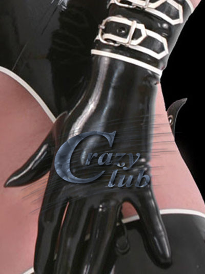 100% pure natural Latex Gloves Fetish Latex Fetish Short latex gloves with buckles free shipping fast delivery